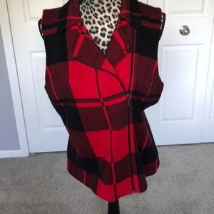 Chaps black and red plaid zip up vest. Very cute